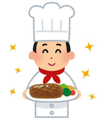 自慢の料理を持ったシェフ