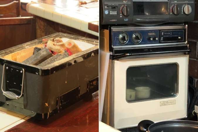 炭のグリルと厨房機器